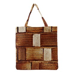 Brown Wall Tile Design Texture Pattern Grocery Tote Bag