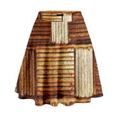 Brown Wall Tile Design Texture Pattern High Waist Skirt by Nexatart