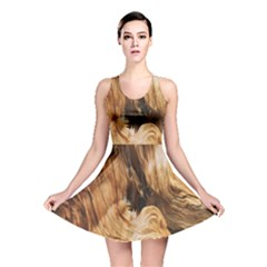 Brown Beige Abstract Painting Reversible Skater Dress