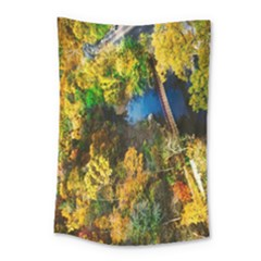 Bridge River Forest Trees Autumn Small Tapestry by Nexatart