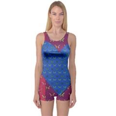 Butterfly Heart Pattern One Piece Boyleg Swimsuit