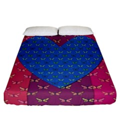 Butterfly Heart Pattern Fitted Sheet (california King Size)