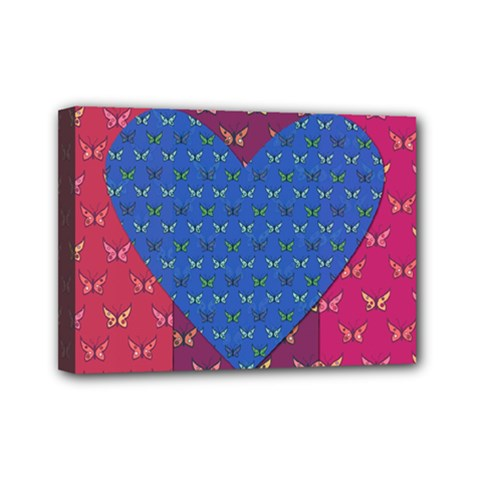 Butterfly Heart Pattern Mini Canvas 7  X 5