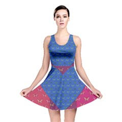 Butterfly Heart Pattern Reversible Skater Dress