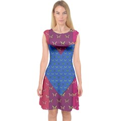 Butterfly Heart Pattern Capsleeve Midi Dress by Nexatart