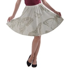 Butterfly Background Vintage A-line Skater Skirt by Nexatart