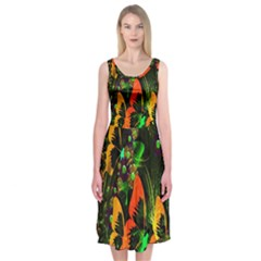 Butterfly Abstract Flowers Midi Sleeveless Dress