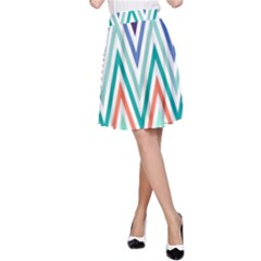 Chevrons Colourful Background A Line Skirt by Nexatart
