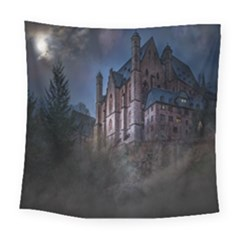 Castle Mystical Mood Moonlight Square Tapestry (large) by Nexatart