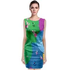 Chinese Umbrellas Screens Colorful Classic Sleeveless Midi Dress