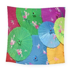 Chinese Umbrellas Screens Colorful Square Tapestry (large)