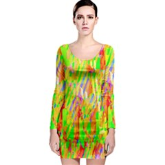 Cheerful Phantasmagoric Pattern Long Sleeve Bodycon Dress by Nexatart
