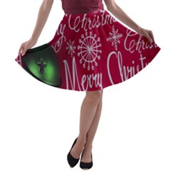 Christmas Decorations Retro A-line Skater Skirt by Nexatart