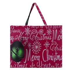 Christmas Decorations Retro Zipper Large Tote Bag by Nexatart