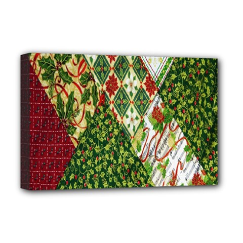 Christmas Quilt Background Deluxe Canvas 18  X 12   by Nexatart