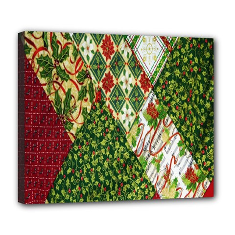 Christmas Quilt Background Deluxe Canvas 24  X 20