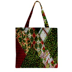 Christmas Quilt Background Zipper Grocery Tote Bag by Nexatart