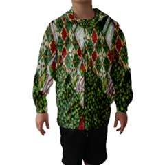 Christmas Quilt Background Hooded Wind Breaker (Kids) by Nexatart