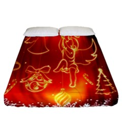 Christmas Widescreen Decoration Fitted Sheet (queen Size) by Nexatart
