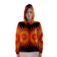 Christmas Card Ball Hooded Wind Breaker (women) by Nexatart