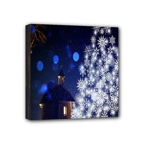 Christmas Card Christmas Atmosphere Mini Canvas 4  X 4  by Nexatart