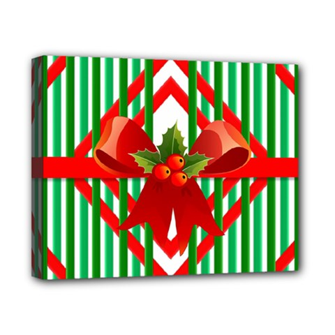 Christmas Gift Wrap Decoration Red Canvas 10  X 8  by Nexatart