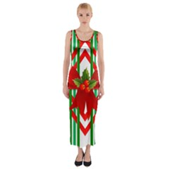 Christmas Gift Wrap Decoration Red Fitted Maxi Dress by Nexatart