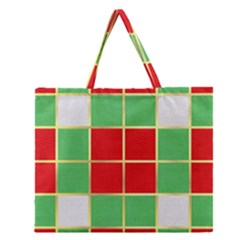 Christmas Fabric Textile Red Green Zipper Large Tote Bag by Nexatart