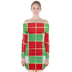 Christmas Fabric Textile Red Green Long Sleeve Off Shoulder Dress by Nexatart