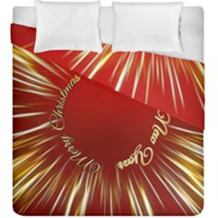 Christmas Greeting Card Star Duvet Cover Double Side (king Size) by Nexatart