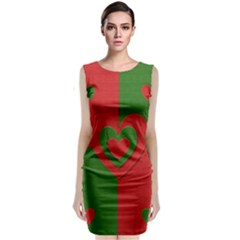 Christmas Fabric Hearts Love Red Classic Sleeveless Midi Dress