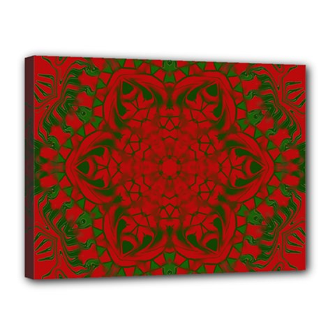 Christmas Kaleidoscope Art Pattern Canvas 16  X 12  by Nexatart