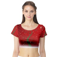 Christmas Modern Day Snow Star Red Short Sleeve Crop Top (tight Fit)