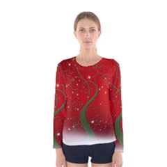 Christmas Modern Day Snow Star Red Women s Long Sleeve Tee