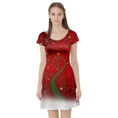 Christmas Modern Day Snow Star Red Short Sleeve Skater Dress