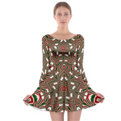 Christmas Kaleidoscope Long Sleeve Skater Dress by Nexatart