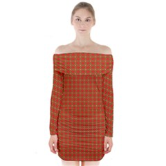 Christmas Paper Wrapping Paper Pattern Long Sleeve Off Shoulder Dress