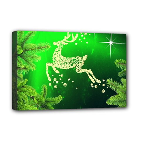 Christmas Reindeer Happy Decoration Deluxe Canvas 18  x 12