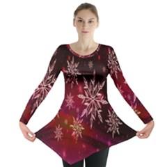 Christmas Snowflake Ice Crystal Long Sleeve Tunic  by Nexatart