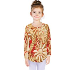 Christmas Straw Xmas Gold Kids  Long Sleeve Tee by Nexatart