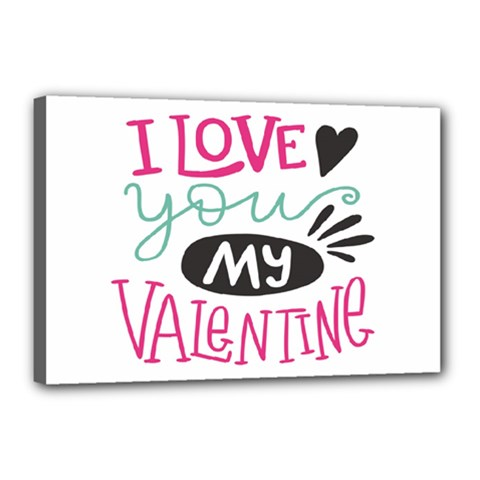 I Love You My Valentine (white) Our Two Hearts Pattern (white) Canvas 18  X 12  by FashionFling