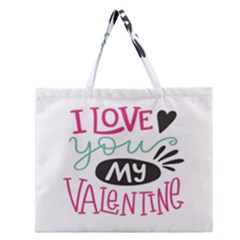 I Love You My Valentine (white) Our Two Hearts Pattern (white) Zipper Large Tote Bag by FashionFling