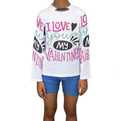 I Love You My Valentine (white) Our Two Hearts Pattern (white) Kids  Long Sleeve Swimwear by FashionFling