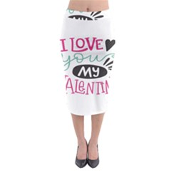 I Love You My Valentine (white) Our Two Hearts Pattern (white) Midi Pencil Skirt by FashionFling