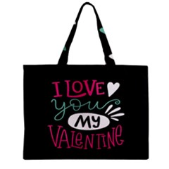 I Love You My Valentine / Our Two Hearts Pattern (black) Zipper Mini Tote Bag by FashionFling