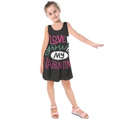 I Love You My Valentine / Our Two Hearts Pattern (black) Kids  Sleeveless Dress by FashionFling