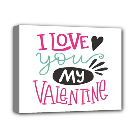 I Love You My Valentine / Our Two Hearts Pattern (white) Deluxe Canvas 14  X 11  by FashionFling