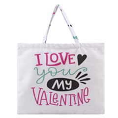 I Love You My Valentine / Our Two Hearts Pattern (white) Zipper Large Tote Bag by FashionFling