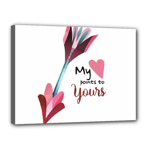 My Heart Points To Yours / Pink And Blue Cupid s Arrows (white) Canvas 16  X 12  by FashionFling