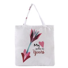 My Heart Points To Yours / Pink And Blue Cupid s Arrows (white) Grocery Tote Bag by FashionFling